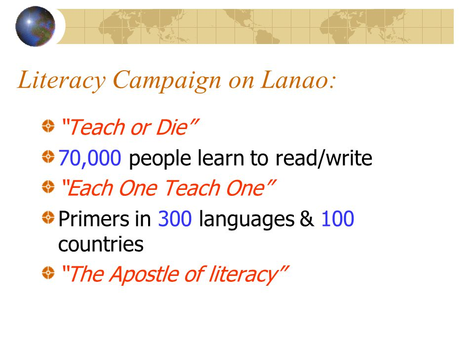 Literacy Campaign on Lanao: