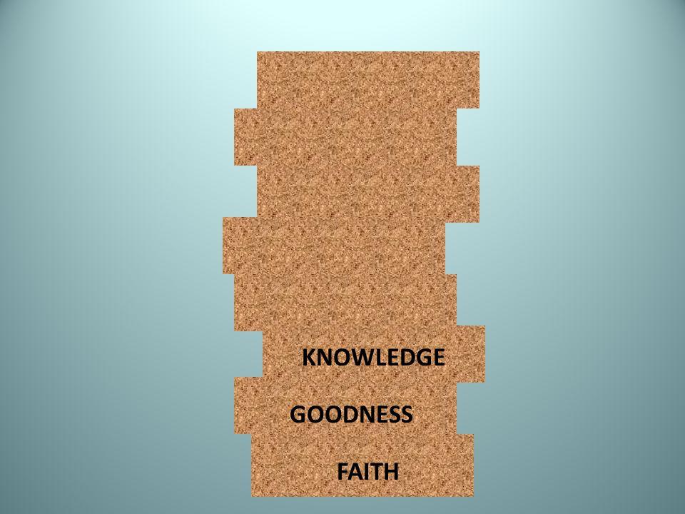 KNOWLEDGE GOODNESS FAITH