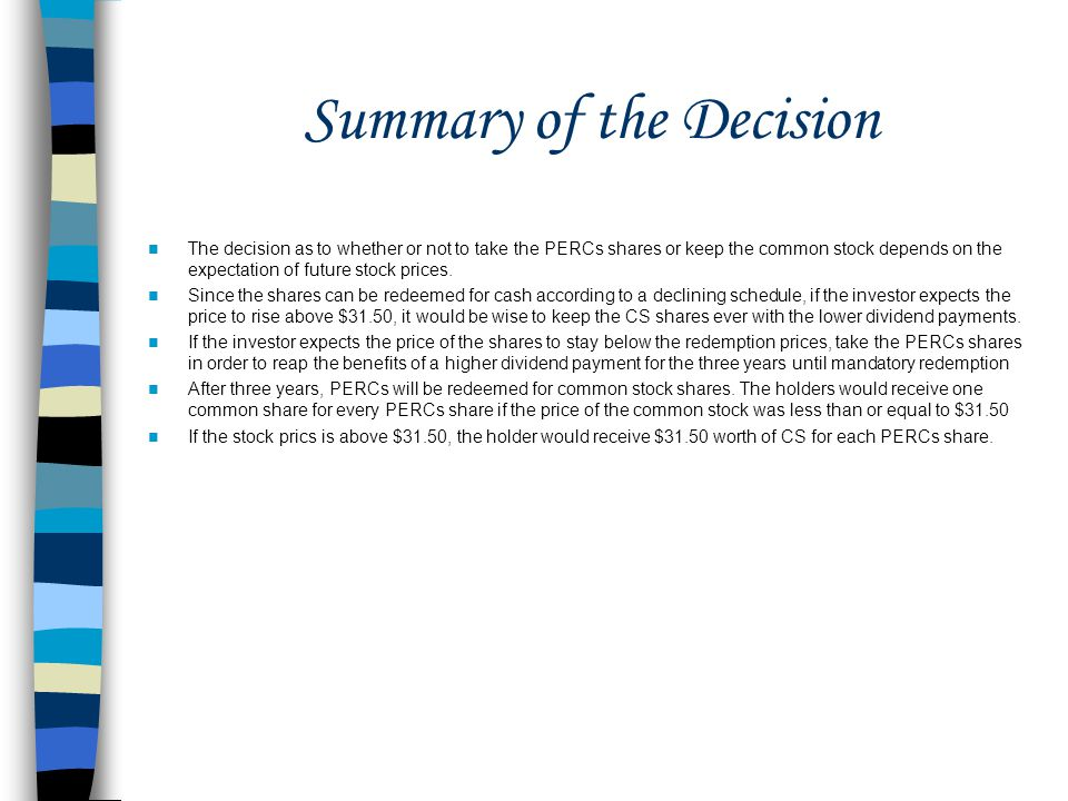 Summary of the Decision
