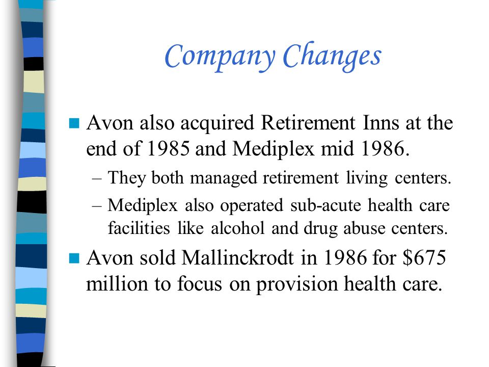 Company Changes Avon also acquired Retirement Inns at the end of 1985 and Mediplex mid 1986. They both managed retirement living centers.