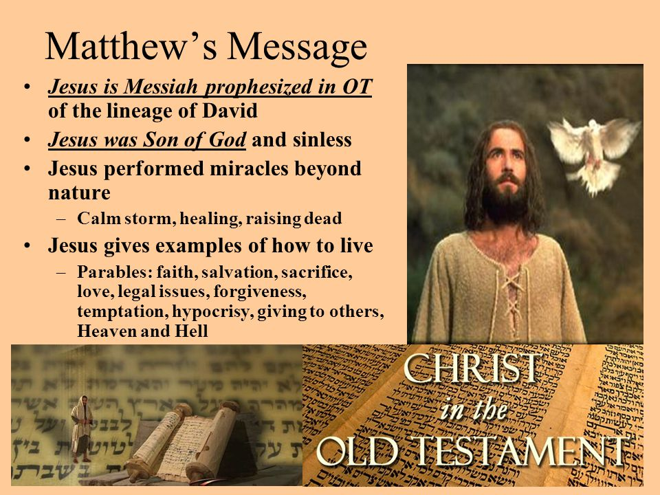 Matthew's Message Jesus is Messiah prophesized in OT of the lineage of David. Jesus was Son of God and sinless.