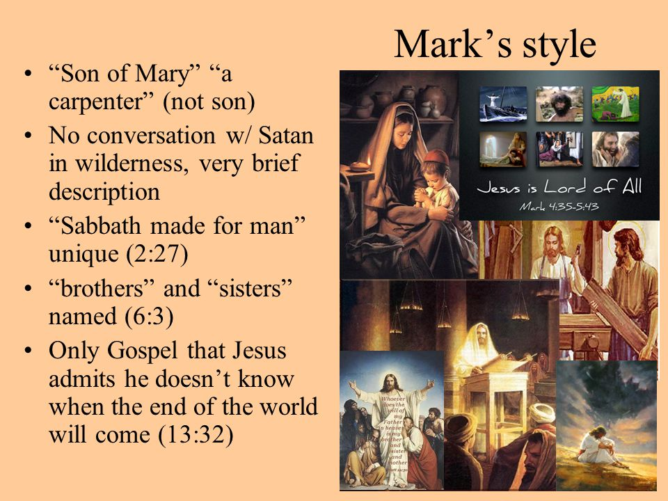 Mark's style Son of Mary a carpenter (not son)
