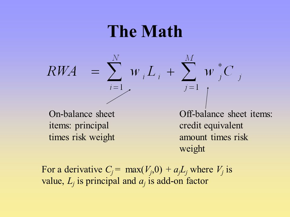 The Math On-balance sheet items: principal times risk weight