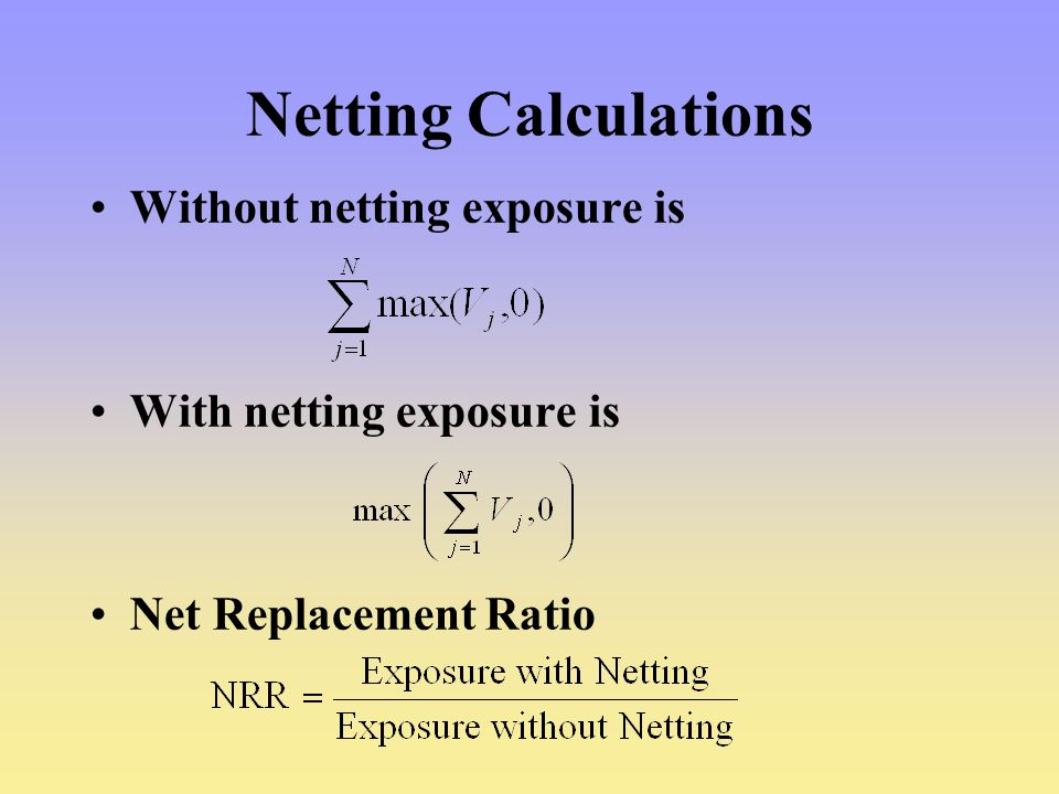Netting Calculations Without netting exposure is