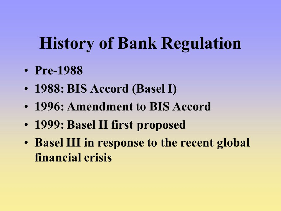 History of Bank Regulation