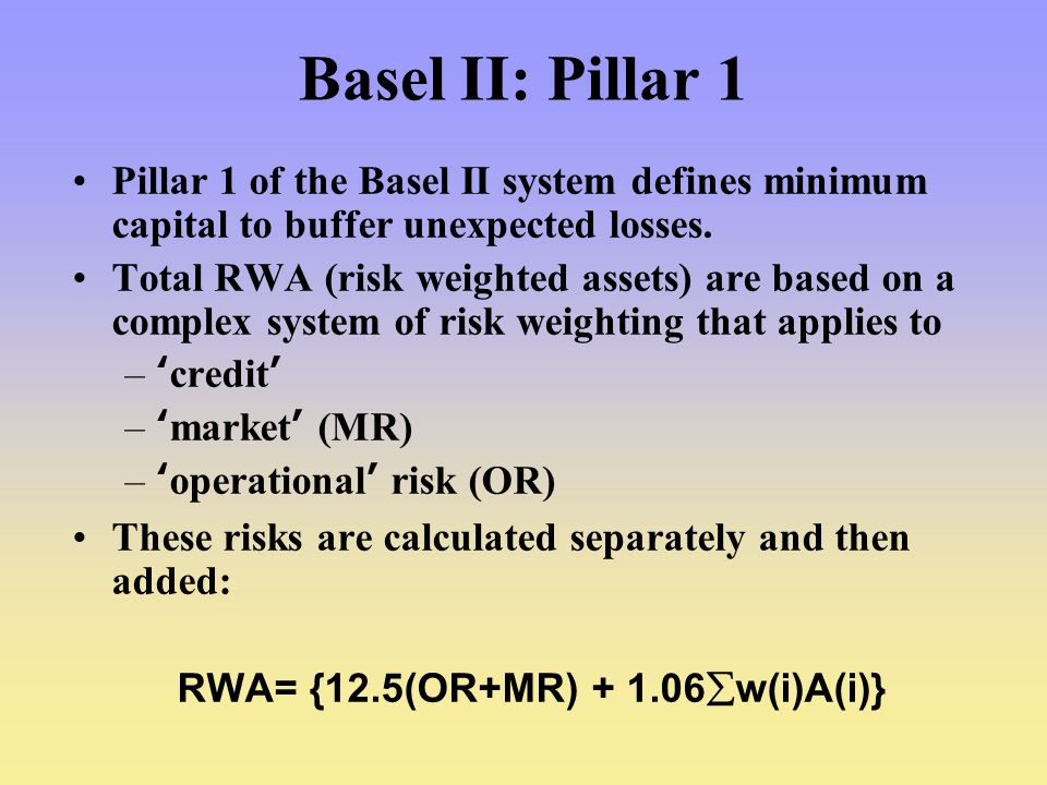 Basel II: Pillar 1 Pillar 1 of the Basel II system defines minimum capital to buffer unexpected losses.