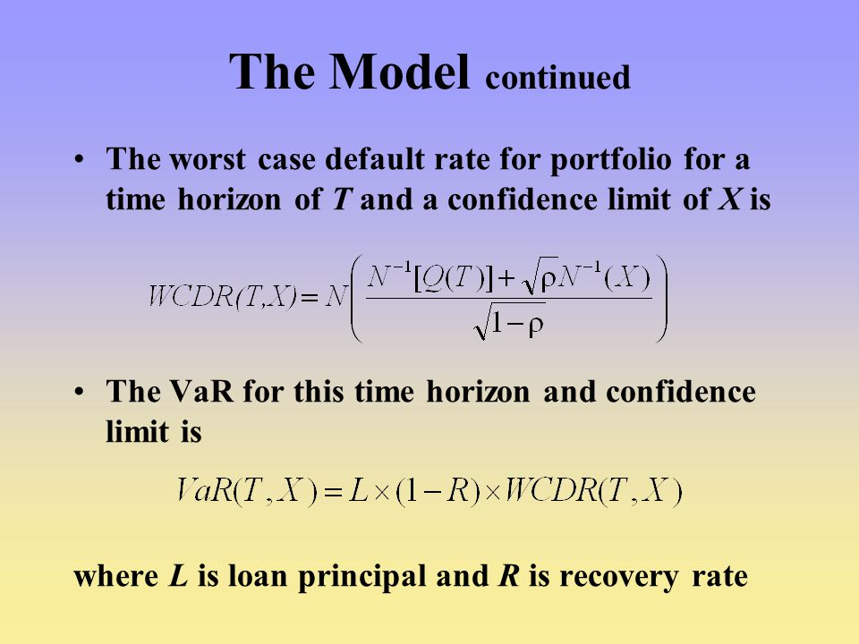 The Model continued The worst case default rate for portfolio for a time horizon of T and a confidence limit of X is.