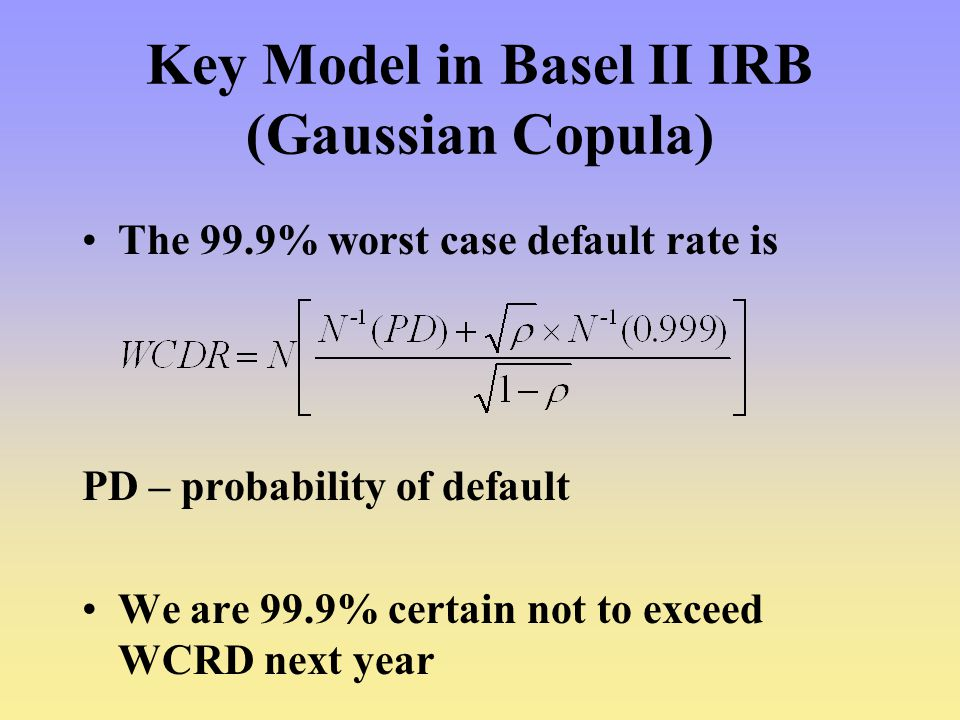 Key Model in Basel II IRB (Gaussian Copula)