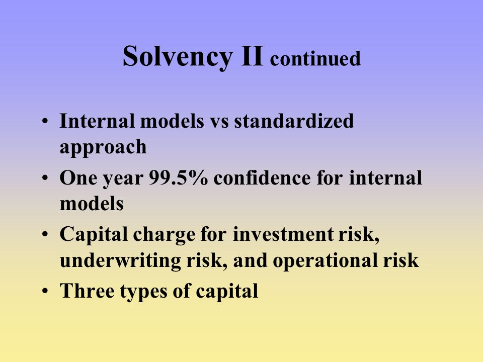 Solvency II continued Internal models vs standardized approach