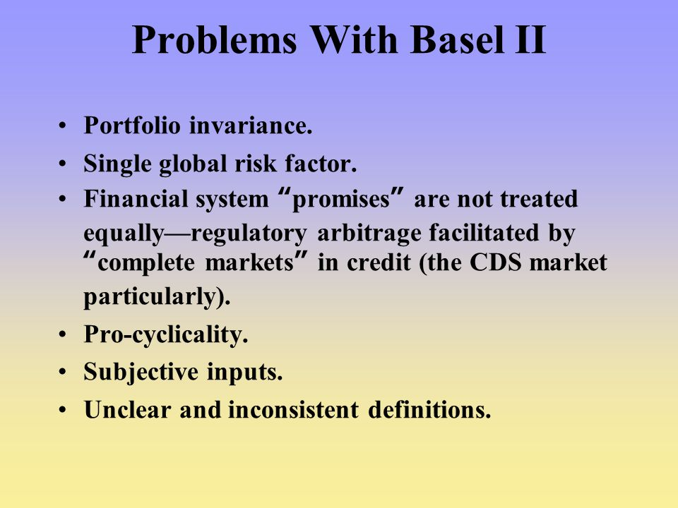 Problems With Basel II Portfolio invariance.
