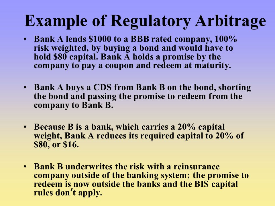 Example of Regulatory Arbitrage