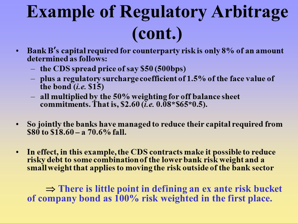 Example of Regulatory Arbitrage (cont.)