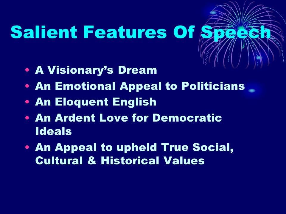 Salient Features Of Speech