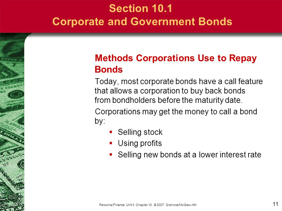 Section 10.1 Corporate and Government Bonds