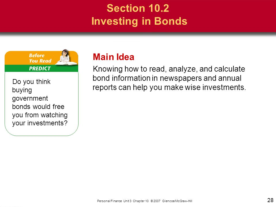 Section 10.2 Investing in Bonds