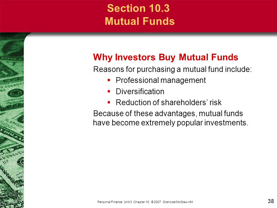 Section 10.3 Mutual Funds Types of Mutual Funds