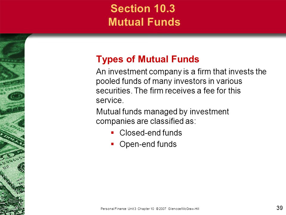 Section 10.3 Mutual Funds Closed-End Funds