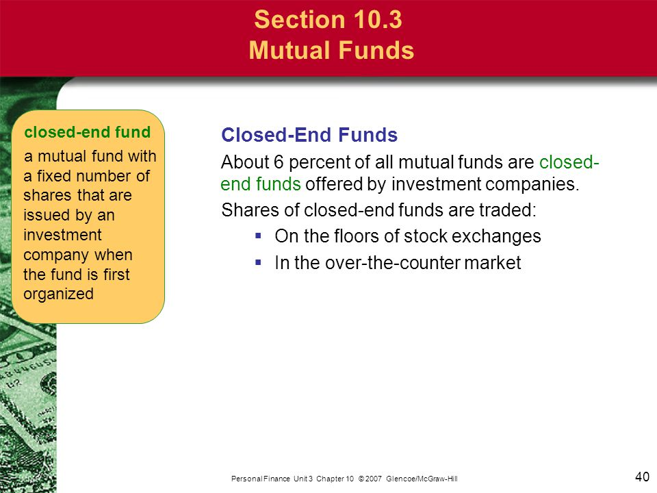 Section 10.3 Mutual Funds Open-End Funds