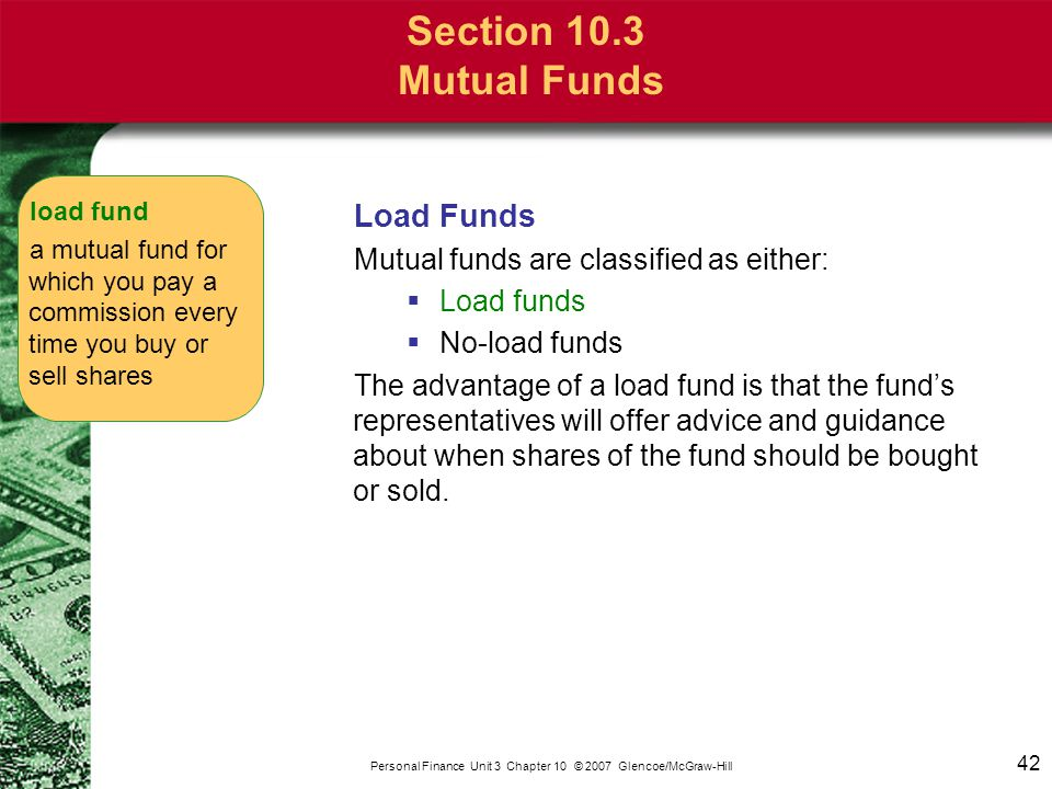 Section 10.3 Mutual Funds No-Load Funds No-load funds: