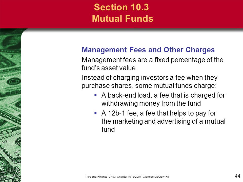 Section 10.3 Mutual Funds Categories of Mutual Funds