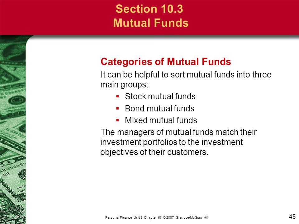Section 10.3 Mutual Funds Stock Mutual Funds