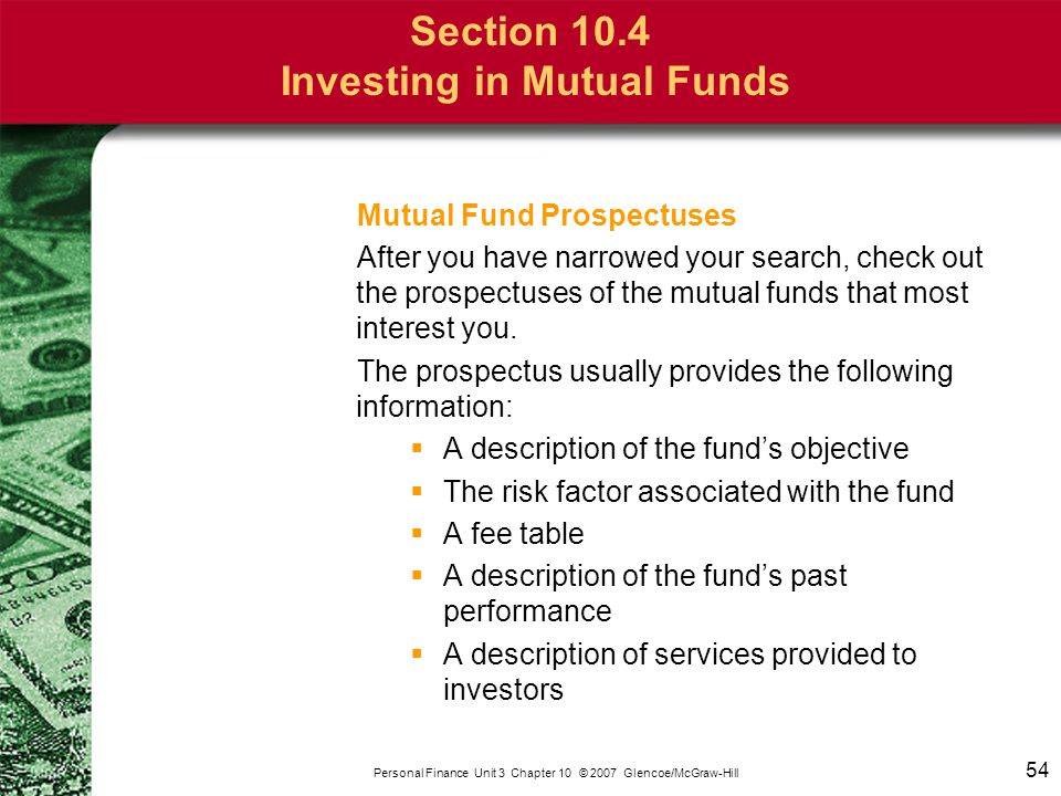 Section 10.4 Investing in Mutual Funds
