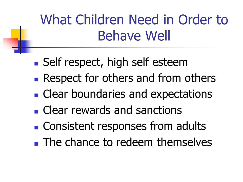 What Children Need in Order to Behave Well