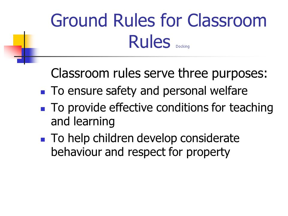 Ground Rules for Classroom Rules Docking