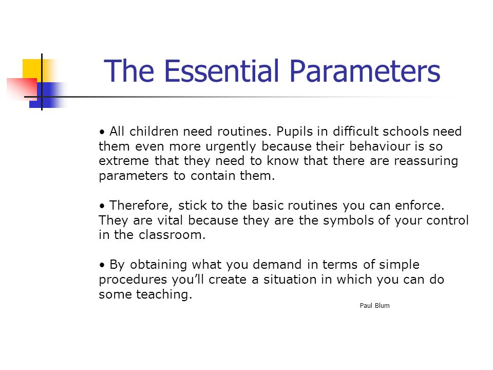 The Essential Parameters