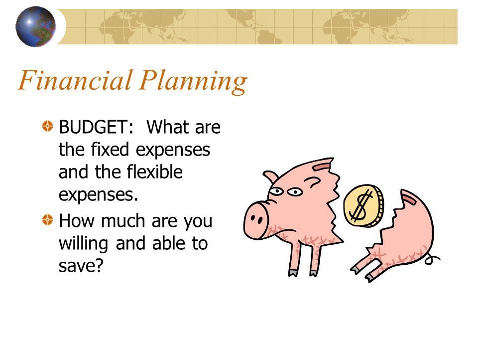 Financial Planning BUDGET: What are the fixed expenses and the flexible expenses.