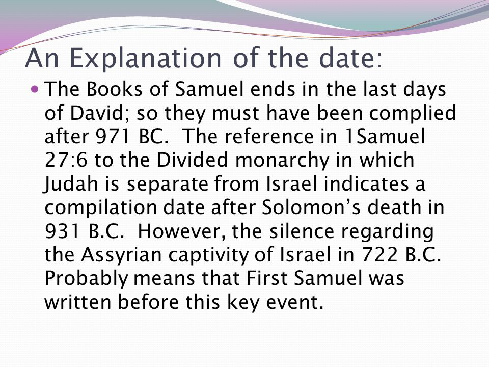 An Explanation of the date: