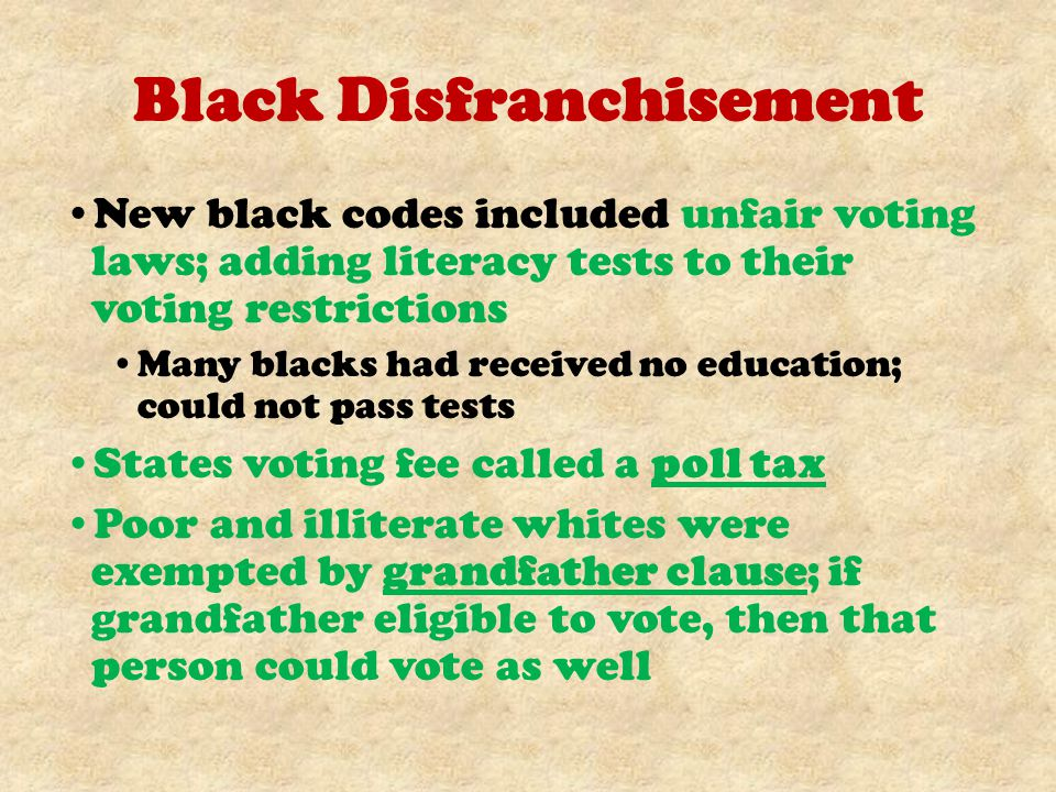 Black Disfranchisement