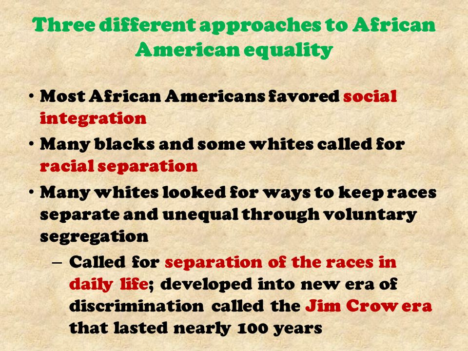 Three different approaches to African American equality