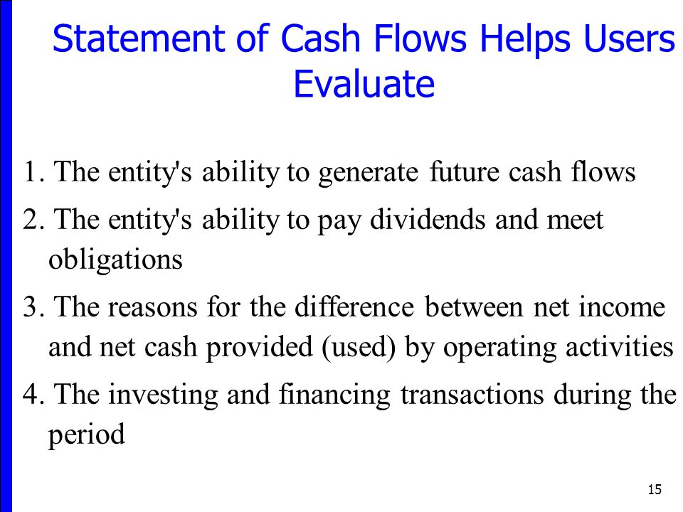Statement of Cash Flows Helps Users Evaluate
