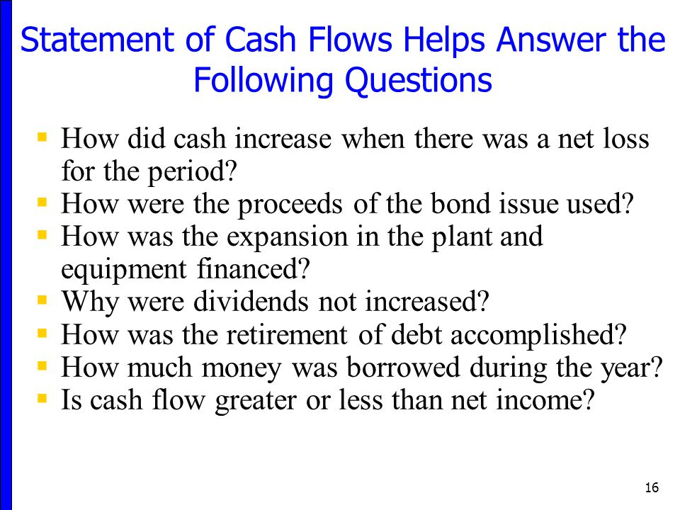 Statement of Cash Flows Helps Answer the Following Questions