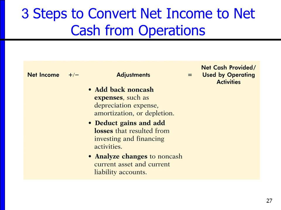 3 Steps to Convert Net Income to Net Cash from Operations