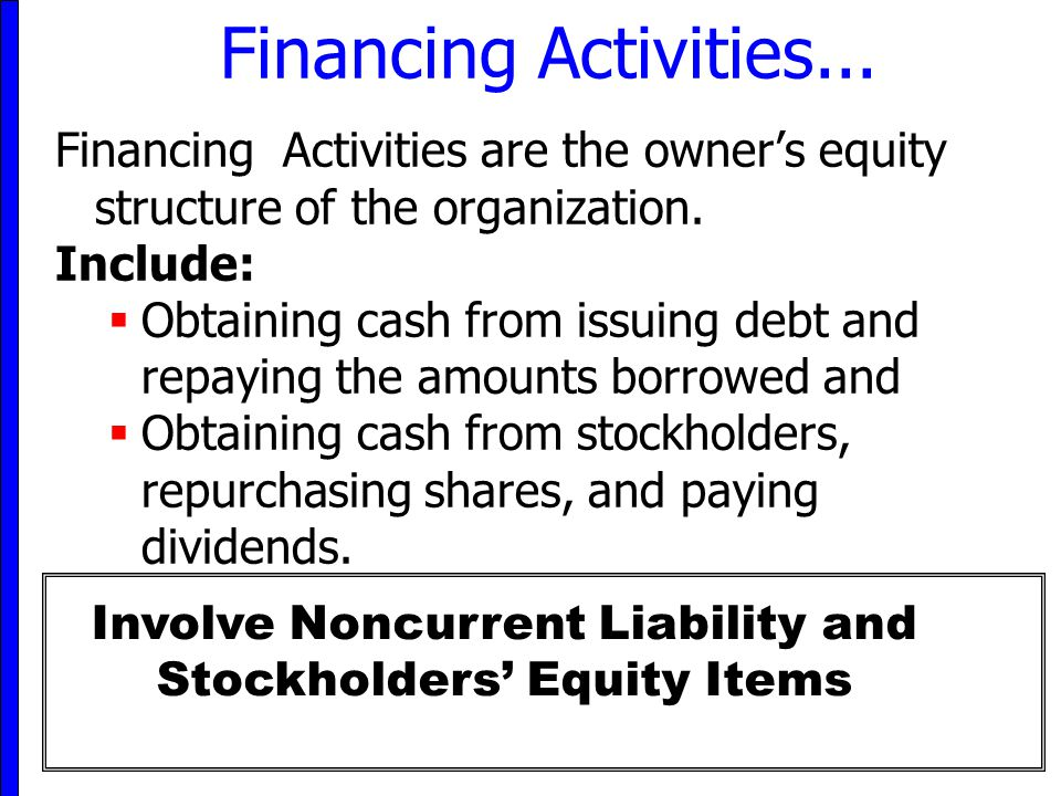 Involve Noncurrent Liability and Stockholders' Equity Items