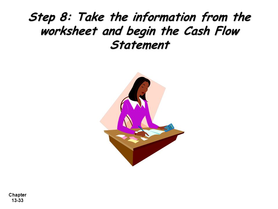Step 8: Take the information from the worksheet and begin the Cash Flow Statement