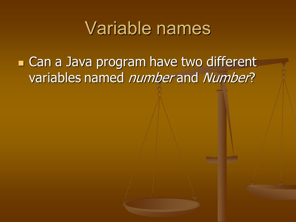 Variable names Can a Java program have two different variables named number and Number