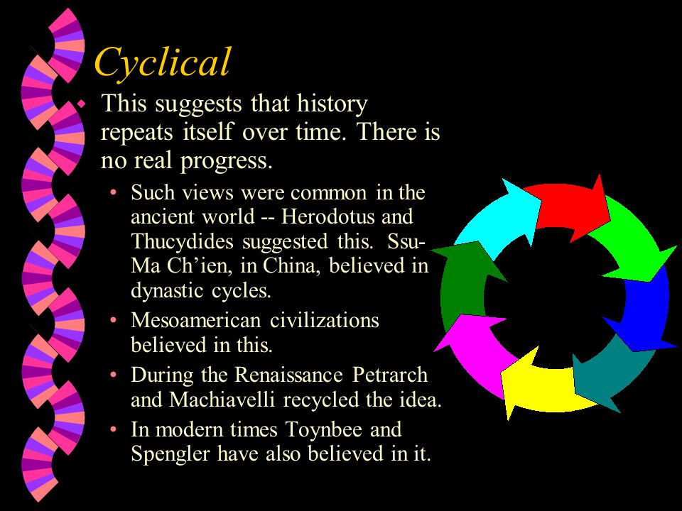 Cyclical This suggests that history repeats itself over time. There is no real progress.