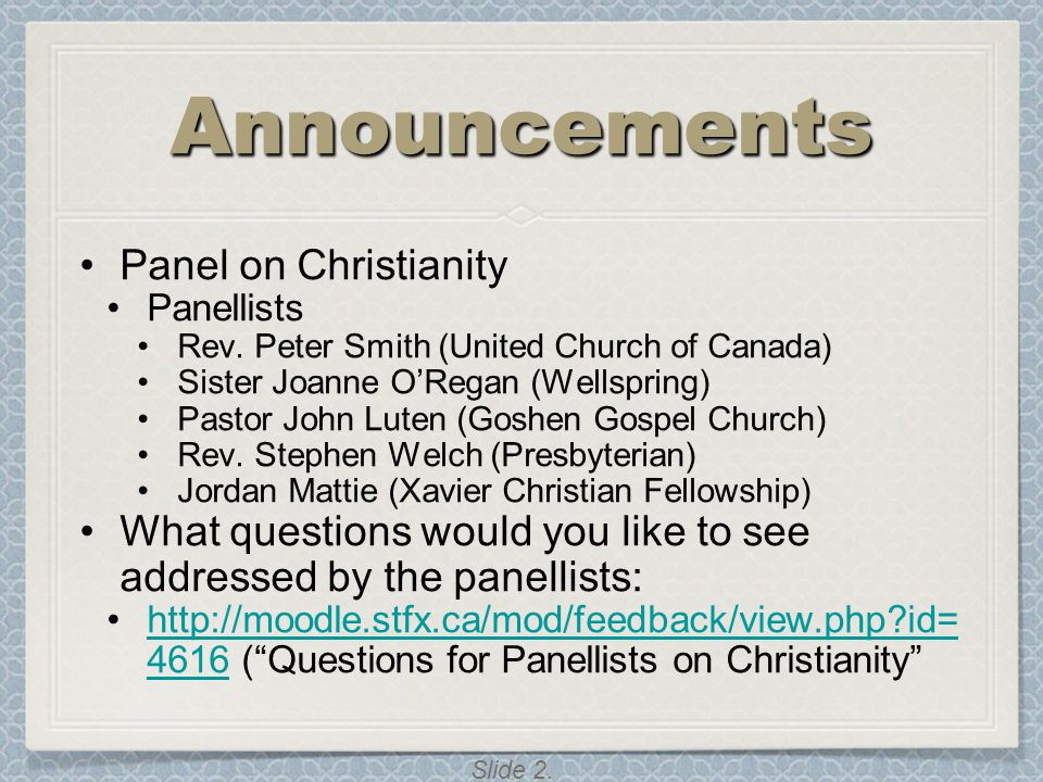 Announcements Panel on Christianity