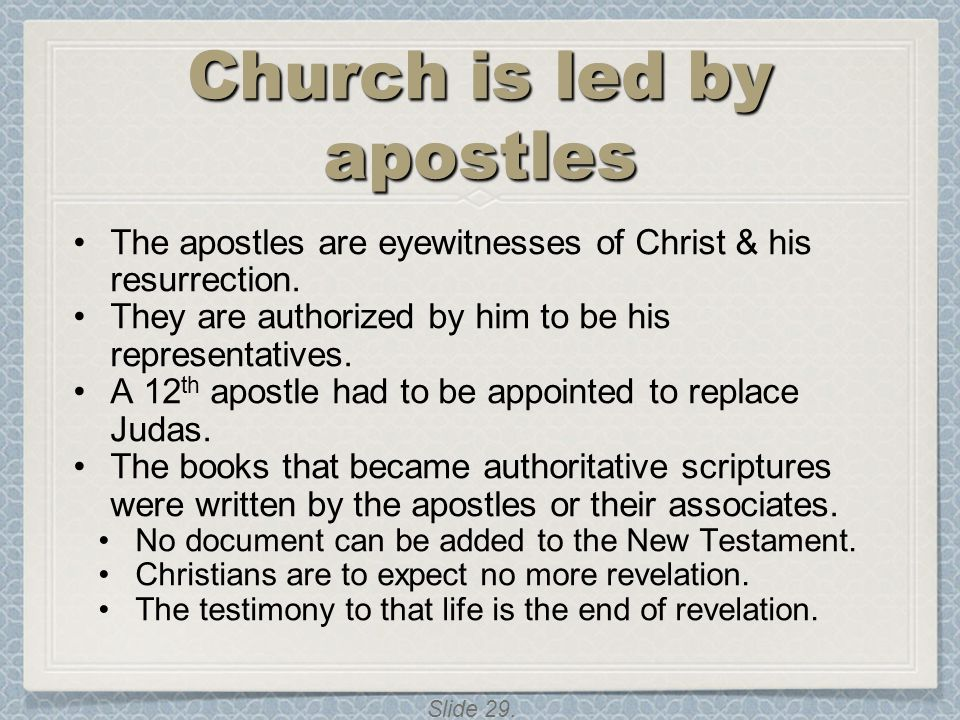 Church is led by apostles