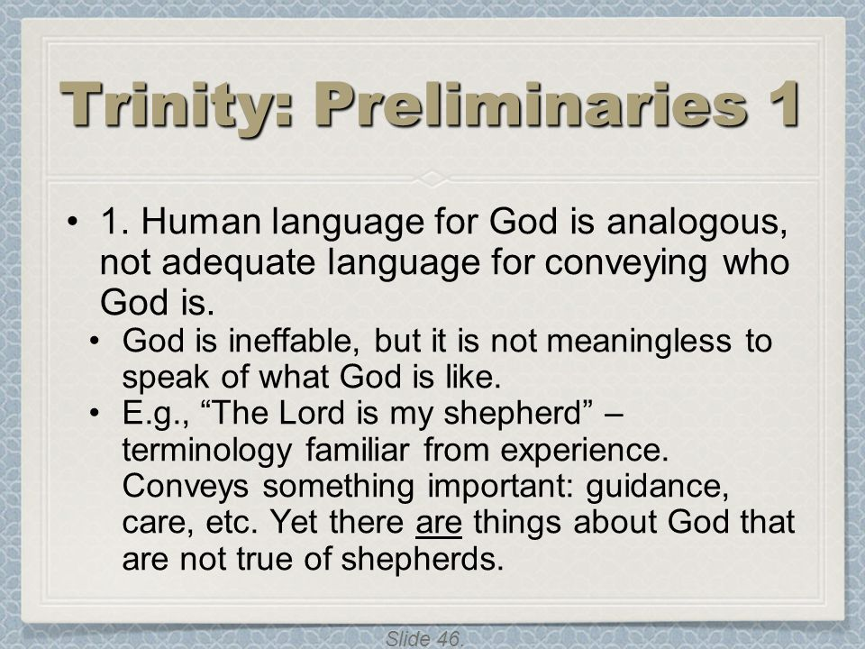 Trinity: Preliminaries 1