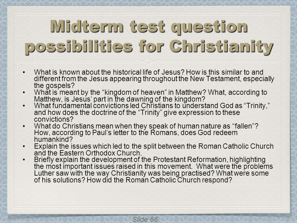 Midterm test question possibilities for Christianity