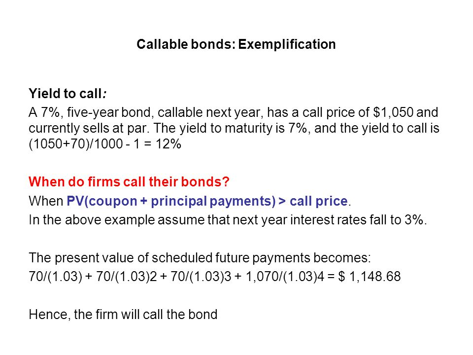 Callable bonds: Exemplification