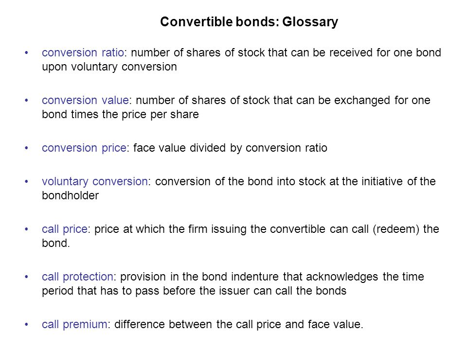 Convertible bonds: Glossary