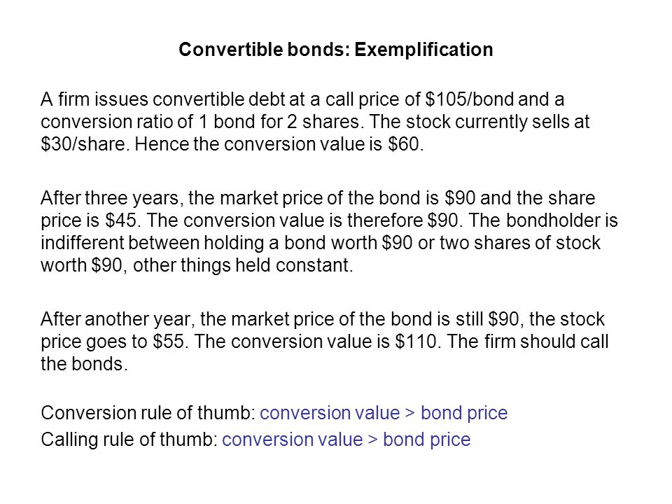 Convertible bonds: Exemplification