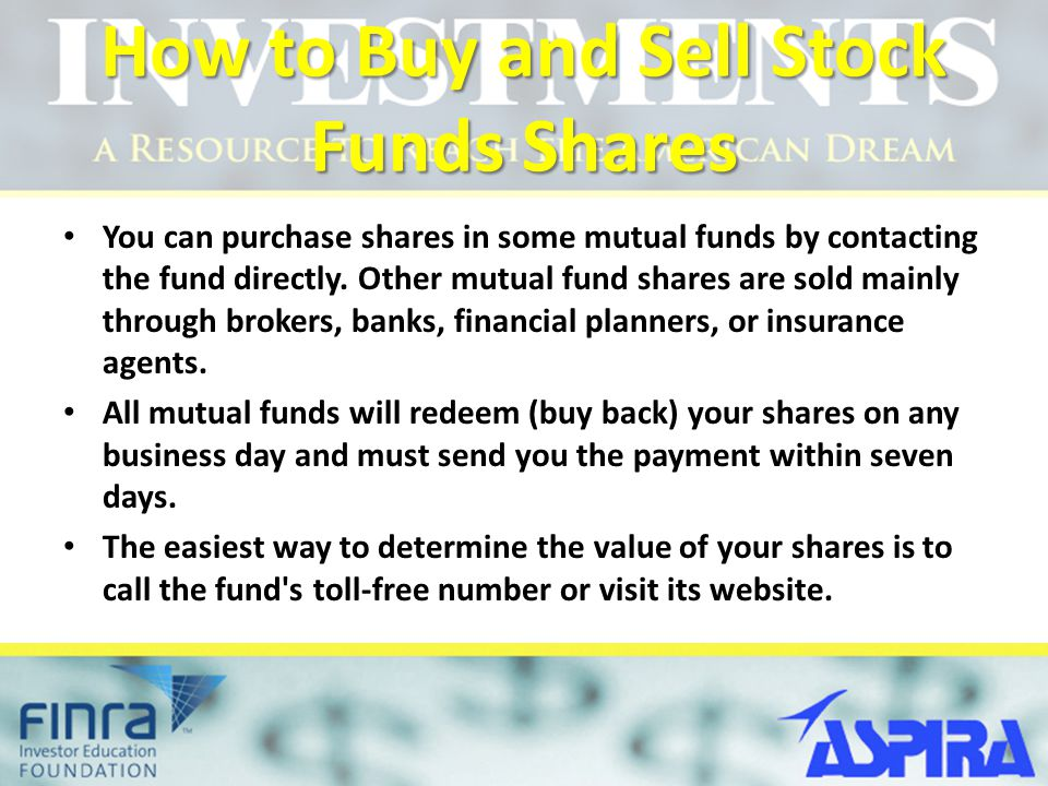 How to Buy and Sell Stock Funds Shares