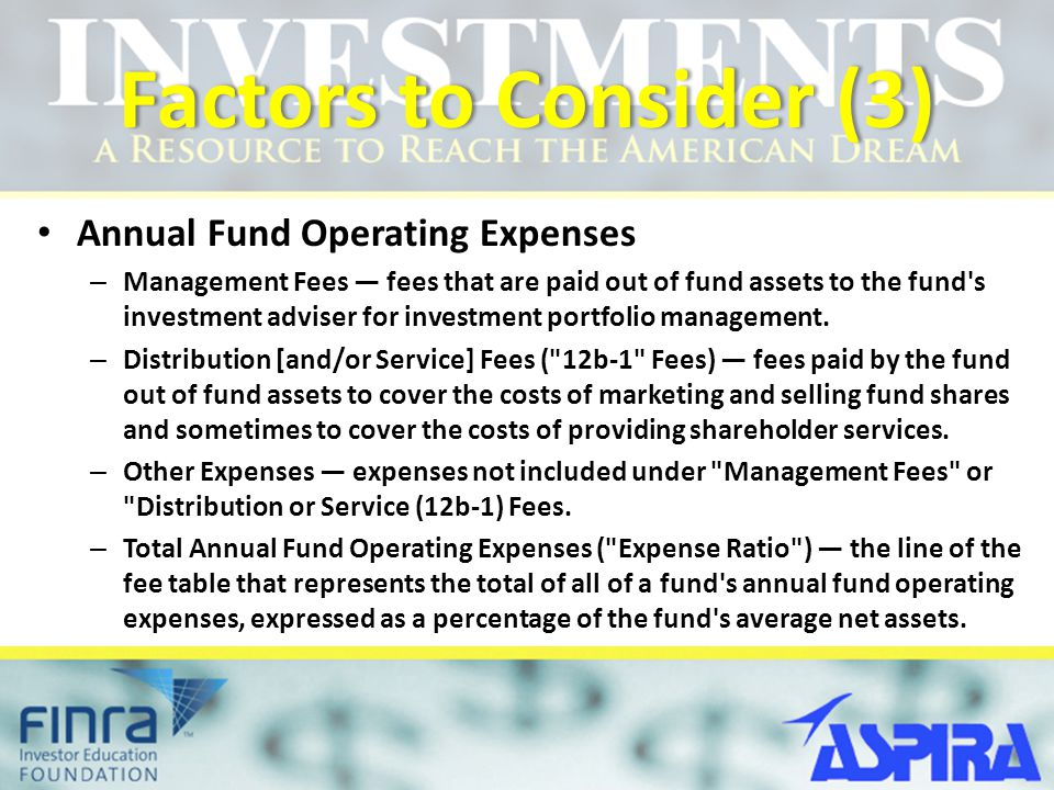 Factors to Consider (3) Annual Fund Operating Expenses