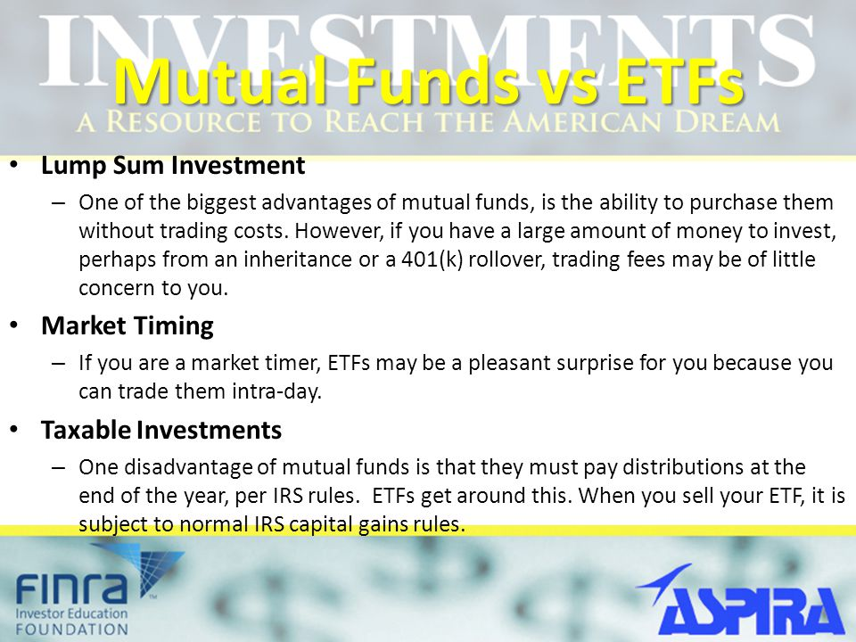 Mutual Funds vs ETFs Lump Sum Investment Market Timing
